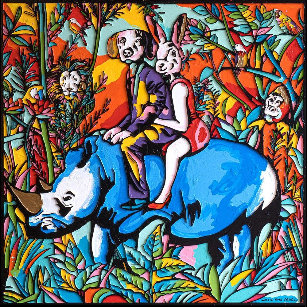 Painting - Gillie and Marc - Original Art - Woodcut - Gold Horn - Rhino - Jungle