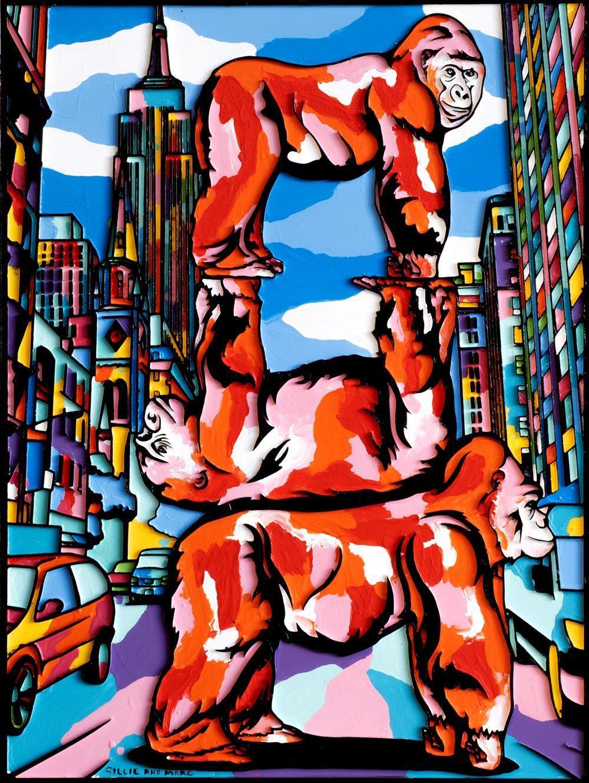 Painting - Gillie and Marc - Original Art - Woodcut - Gorilla New York City