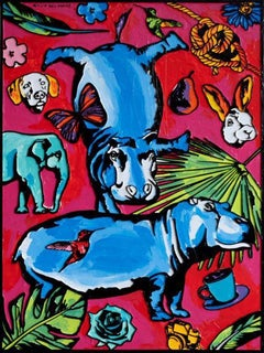 Painting - Gillie and Marc - Original Art - Woodcut - Hippo - Favourite Things