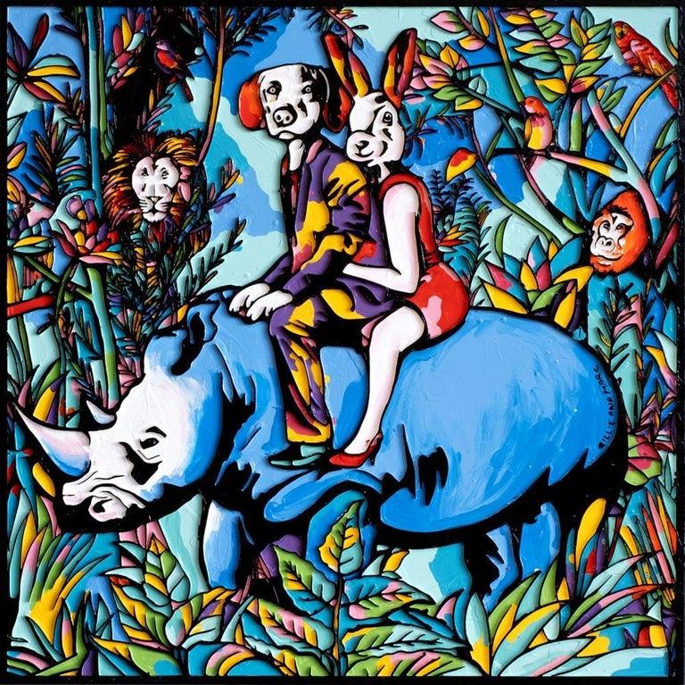 Gillie and Marc Schattner Animal Painting - Painting - Gillie and Marc - Original Art - Woodcut - Rhino - Rabbit - Dog