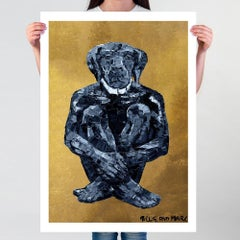 Painting Print - Pop Art - Gillie and Marc - Limited Ed - Dog - Black - Gold