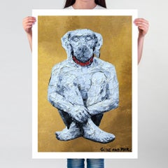 Painting Print - Pop Art - Gillie and Marc - Limited Ed - Dog - White - Gold