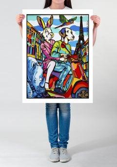 Painting Print - Pop Art - Gillie and Marc - Limited Edition - Vespa - Paris