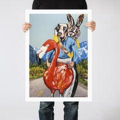 Painting Print - Pop Art - Gillie and Marc - Ltd Ed - Dog - Rabbit - Flamingo