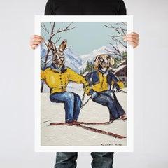 Painting Print - Pop Art - Gillie and Marc - Ltd Ed - Dog - Rabbit - Ski - Love