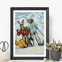 Painting Print - Pop Art - Gillie and Marc - Ltd Ed - Dog - Rabbit - Skiing