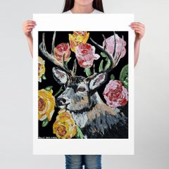 Pop Art - Painting Print - Gillie and Marc - Limited Edition - Deer - Roses