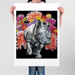 Pop Art - Painting Print - Gillie and Marc - Ltd Edition - Love - Flowers Rhino