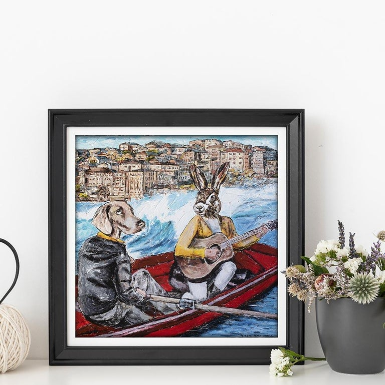 Print - Gillie and Marc - Art - Limited Edition - Bondi Beach - Love - Adventure - Painting by Gillie and Marc Schattner