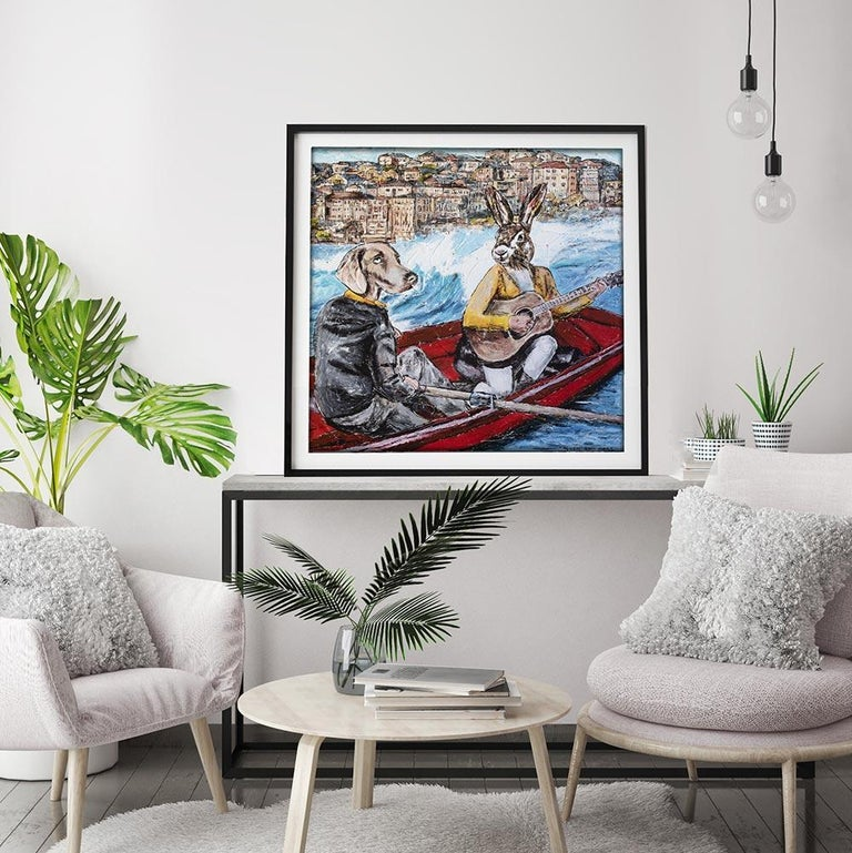 Print - Gillie and Marc - Art - Limited Edition - Bondi Beach - Love - Adventure - Gray Animal Painting by Gillie and Marc Schattner