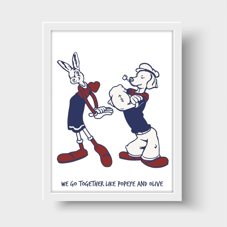 Title: We go together like Popeye and Olive Limited Edition Illustration Print  Gillie and Marc's paintings are signed, limited-editions and are produced on Entrada Rag Bright 300gsm, 100% acid free, 100% cotton rag paper, with a 40mm white border.