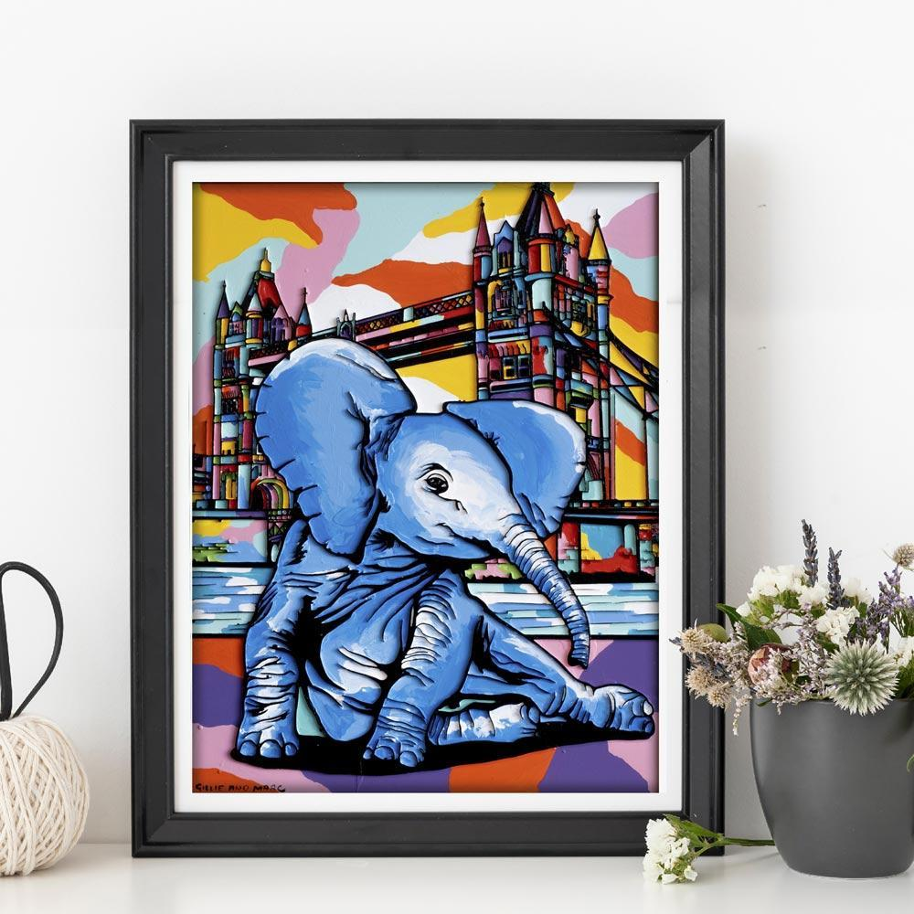 Print - Gillie and Marc - Art - Limited Edition - Elephant Orphan - London