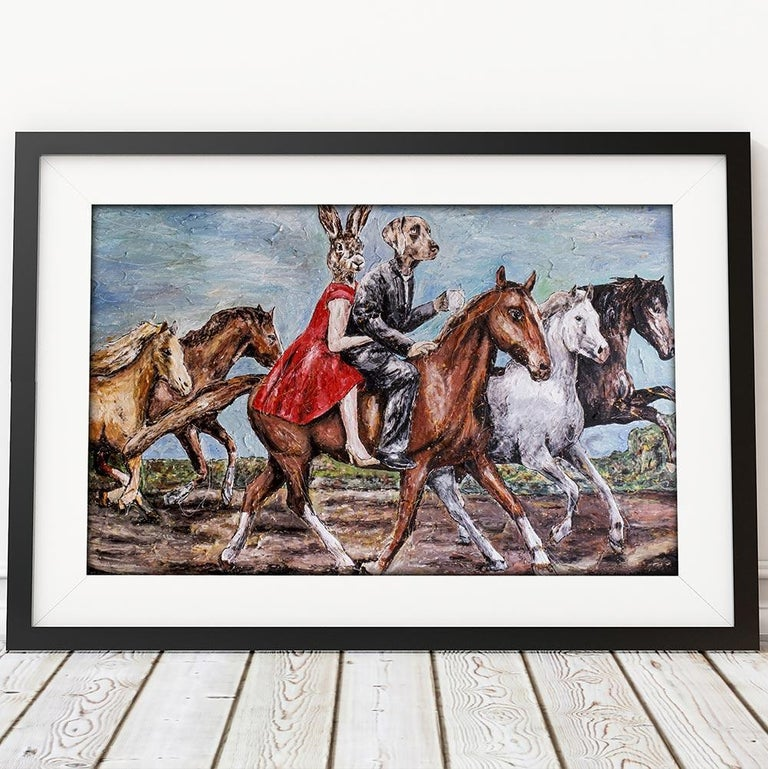 Title: They thought to ride is to fly without wings Limited Edition Giclee Print  Gillie and Marc's paintings are signed, limited-editions and are produced on Entrada Rag Bright 300gsm, 100% acid free, 100% cotton rag paper, with a 40mm white