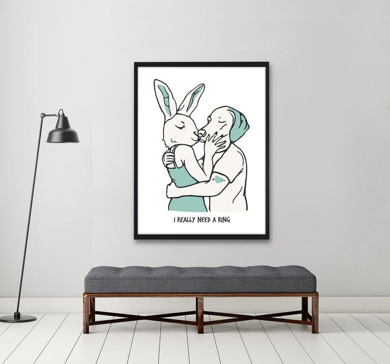 Print - Gillie and Marc - Art - Limited Edition - Love - Kiss - Wedding Ring - Gray Animal Painting by Gillie and Marc Schattner