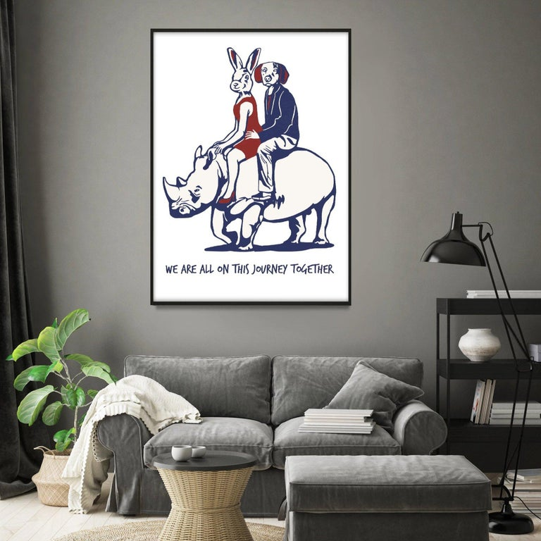 Print - Gillie and Marc - Art - Limited Edition - Love - Rhino - Adventure - Contemporary Painting by Gillie and Marc Schattner