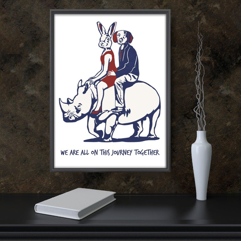 Print - Gillie and Marc - Art - Limited Edition - Love - Rhino - Adventure - Gray Animal Painting by Gillie and Marc Schattner