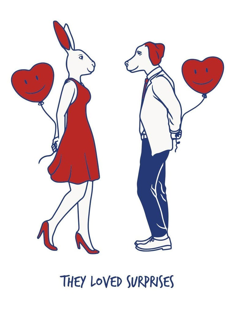 Print - Gillie and Marc - Art - Limited Edition - Love - Surprises - Couple - Painting by Gillie and Marc Schattner