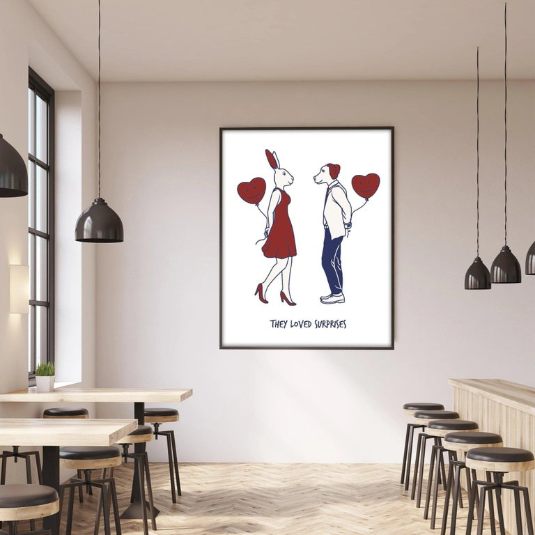 Title: They loved surprises Limited Edition Illustration Print  Gillie and Marc's paintings are signed, limited-editions and are produced on Entrada Rag Bright 300gsm, 100% acid free, 100% cotton rag paper, with a 40mm white border.    IMPORTANT: