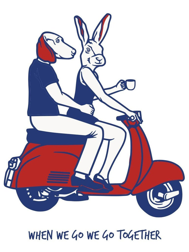Print - Gillie and Marc - Art - Limited Edition - Love - Vespa - Adventure - Painting by Gillie and Marc Schattner