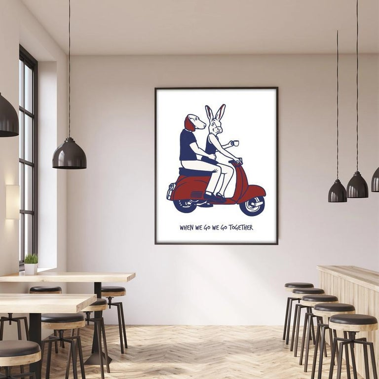 Print - Gillie and Marc - Art - Limited Edition - Love - Vespa - Adventure - Gray Animal Painting by Gillie and Marc Schattner