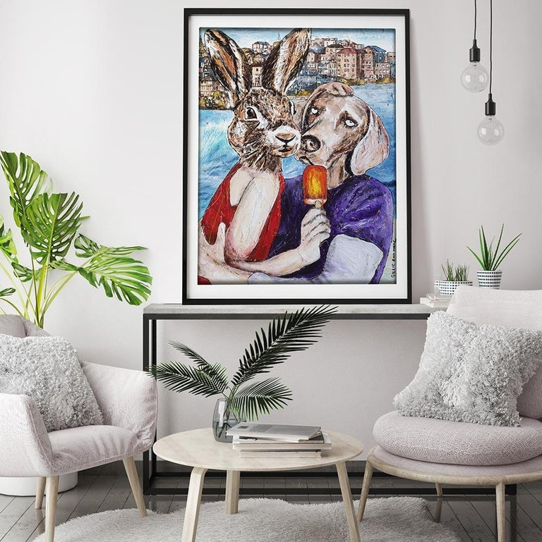 Print - Gillie and Marc - Art - Limited Edition - Summer Love - Beach Adventure - Painting by Gillie and Marc Schattner