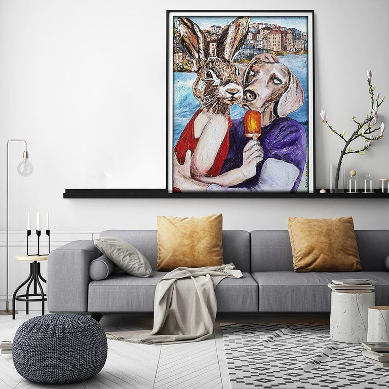 Print - Gillie and Marc - Art - Limited Edition - Summer Love - Beach Adventure - Gray Animal Painting by Gillie and Marc Schattner