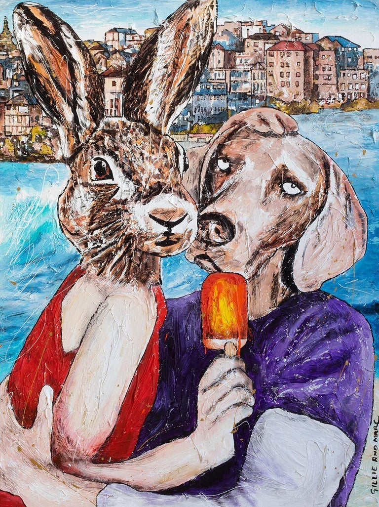 Gillie and Marc Schattner Animal Painting - Print - Gillie and Marc - Art - Limited Edition - Summer Love - Beach Adventure