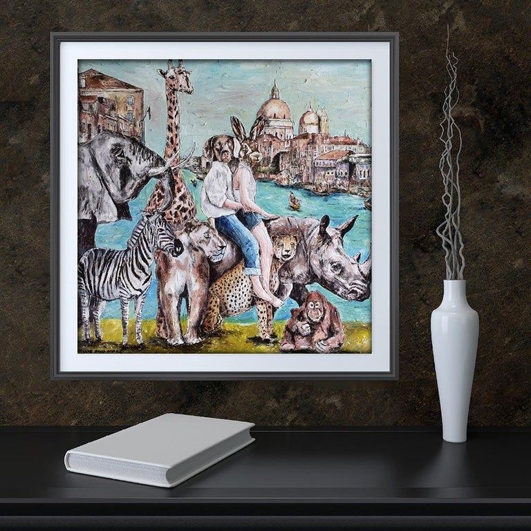 Print - Gillie and Marc - Art - Limited Edition - Wildlife Love - Adventure - Gray Animal Painting by Gillie and Marc Schattner