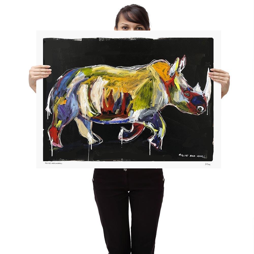 Print - Gillie and Marc - Pop Art - Limited Edition - Wildlife - Love - Rhino