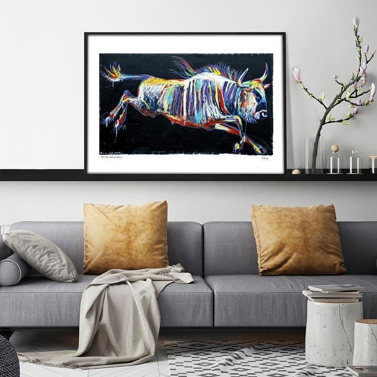 Print - Gillie and Marc - Pop Art - Limited Edition - Wildlife - Wildebeest - Painting by Gillie and Marc Schattner