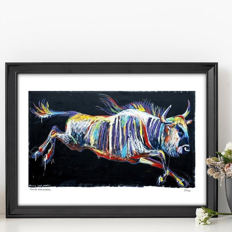 Print - Gillie and Marc - Pop Art - Limited Edition - Wildlife - Wildebeest - Black Animal Painting by Gillie and Marc Schattner