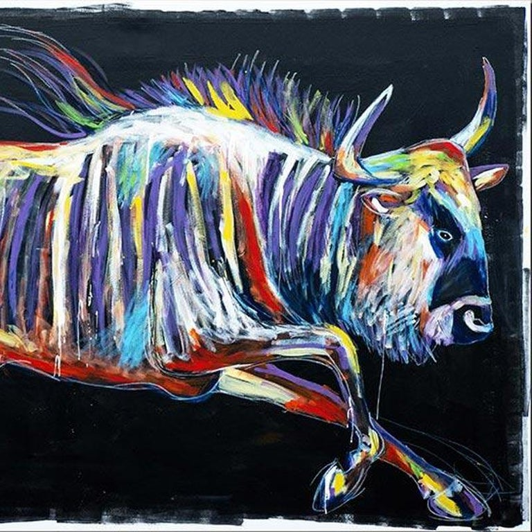 Print - Gillie and Marc - Pop Art - Limited Edition - Wildlife - Wildebeest - Contemporary Painting by Gillie and Marc Schattner