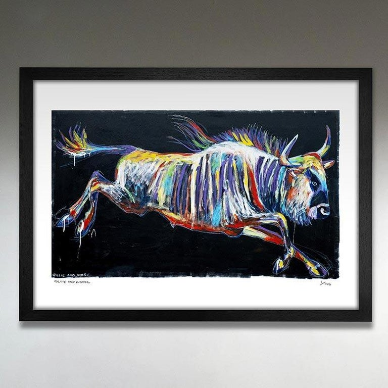 Gillie and Marc Schattner Animal Painting - Print - Gillie and Marc - Pop Art - Limited Edition - Wildlife - Wildebeest
