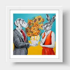 Print - Limited Edition - Animal Art - Gillie and Marc - Rabbit - Dog - Flowers