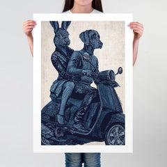 Print - Limited Edition - Animal Art - Gillie and Marc - Vespa Adventure - Blue