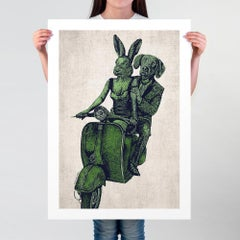 Print - Limited Edition - Animal Art - Gillie and Marc - Vespa Adventure - Green