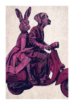 Print - Limited Edition - Animal Art - Gillie and Marc - Vespa Adventure - Pink