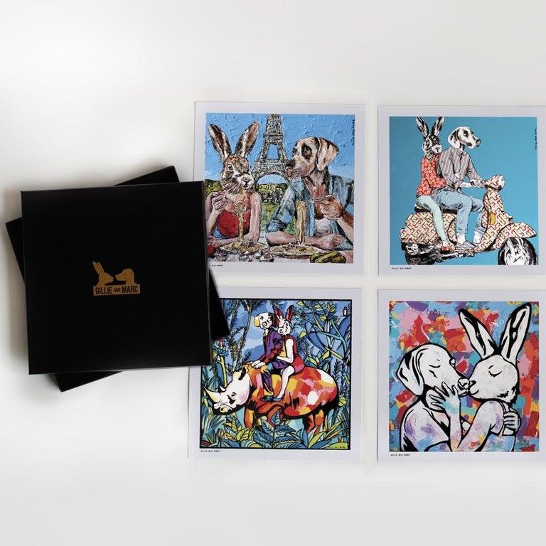 Gillie and Marc Schattner Animal Painting - Print Set - Gillie and Marc - Art - Limited Edition - Love - Gift Box Collection