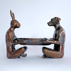 Bronze Indoor Outdoor Sculpture - Limited Edition - Dog Rabbit Art Bowl