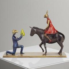 Bronze Sculpture - Art - Gillie and Marc - Love - Story - Dog - Rabbit - Donkey