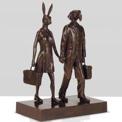 Bronze Sculpture - Art - Gillie and Marc - Love - Dog - Rabbit - Travel Suitcase