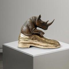 Bronze Sculpture - Art - Gillie and Marc - Love - Wildlife - Rhino - Shoe - Gold
