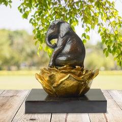 Bronze Sculpture - Art - Gillie and Marc - Pop Art - Love Elephant Gold Flower