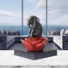 Bronze Sculpture - Art - Gillie and Marc - Pop Art - Love - Elephant Red Flower