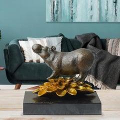Bronze Sculpture - Art - Gillie and Marc - Pop Art - Love - Hippo - Gold