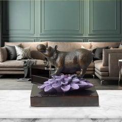 Bronze Sculpture - Art - Gillie and Marc - Pop Art - Love - Hippo  Purple Flower