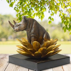 Bronze Sculpture - Art - Gillie and Marc - Pop Art - Love - Rhino - Gold Flower