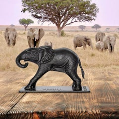 Bronze Sculpture - Art - Limited Edition - Animal - Baby Orphan Elephant - Ambo