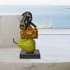 Bronze Sculpture - Art - Limited Edition - Animals - Elephant - Camera - Pear