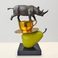 Bronze Sculpture - Art - Limited Edition - Animals - Rhino - Cup - Pear - Stack